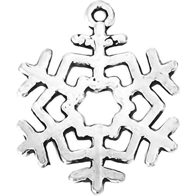 AVBeads Fall Seasonal Christmas Yule Holiday Snowflake Silver 29mm Metal Charms Pendants 2pcs