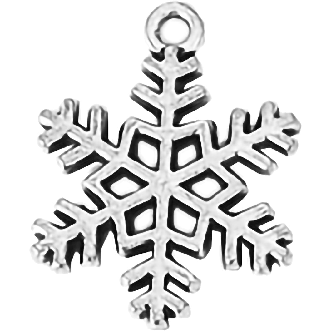 AVBeads Fall Seasonal Christmas Yule Holiday Snowflake Silver 23mm Metal Charms Pendants 2pcs