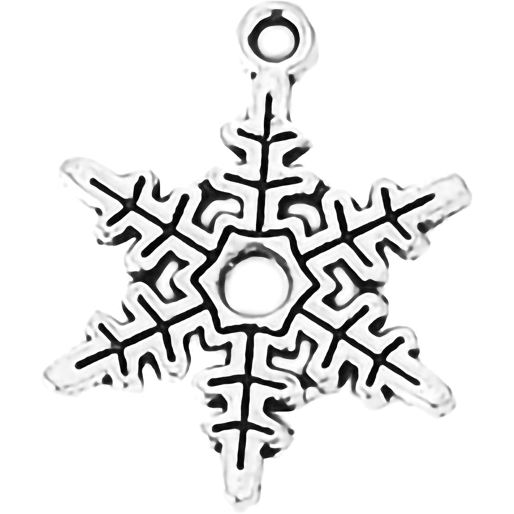 AVBeads Fall Seasonal Christmas Yule Holiday Snowflake Silver 24mm Metal Charms Pendants 2pcs
