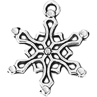 AVBeads Fall Seasonal Christmas Yule Holiday Snowflake Silver 19mm Metal Charms Pendants 2pcs