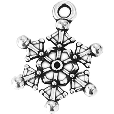 AVBeads Fall Seasonal Christmas Yule Holiday Snowflake Silver 20mm Metal Charms Pendants 2pcs