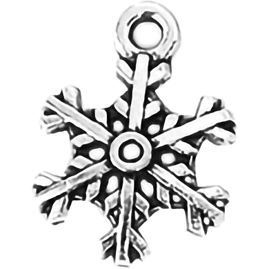 AVBeads Fall Seasonal Christmas Yule Holiday Snowflake Silver 18mm Metal Charms Pendants 2pcs
