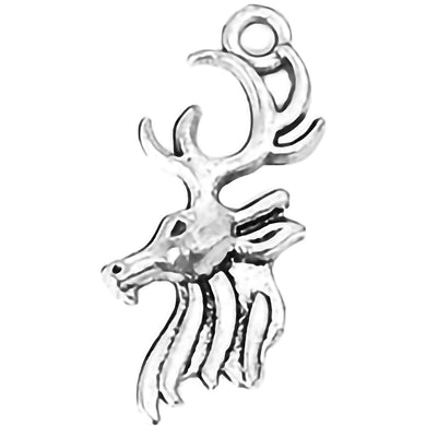 AVBeads Animal Fall Seasonal Christmas Yule Holiday Reindeer Silver 27mm Metal Charms Pendants 2pcs