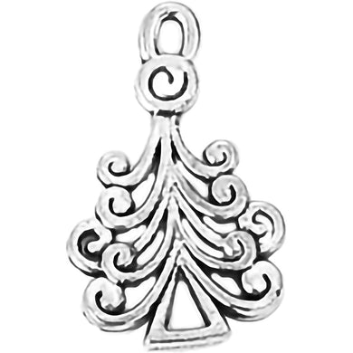 AVBeads Fall Seasonal Christmas Yule Holiday Tree Silver 23mm Metal Charms Pendants 2pcs