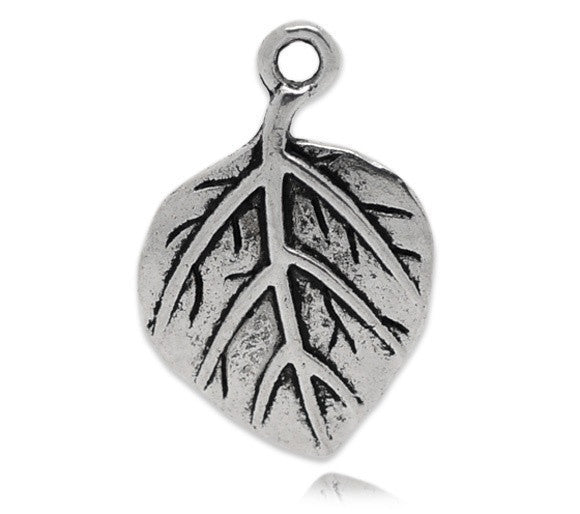 AVBeads Nature Leaf Charms Silver 21mm x 14mm Metal Charms 10pcs