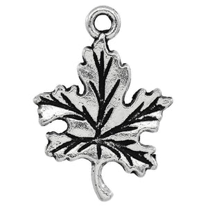 AVBeads Nature Leaf Charms Silver 23mm x 16mm Metal Charms 10pcs