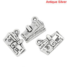 Load image into Gallery viewer, AVBeads Luck Lucky Money Bank Note Dollar Silver 17mm x 13mm Metal Charms 10pcs