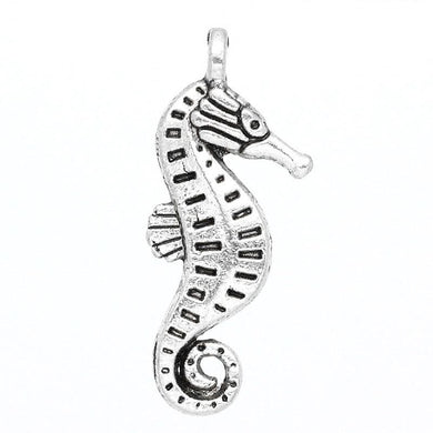 AVBeads Beach Charms Seahorse Silver 22mm x 9mm Metal Charms 4pcs