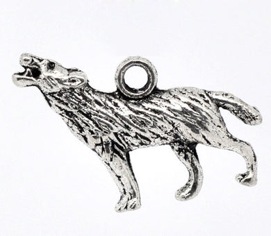 AVBeads Animal Charms Wolf Charms Silver 26mm x 16mm Metal Charms 2pcs