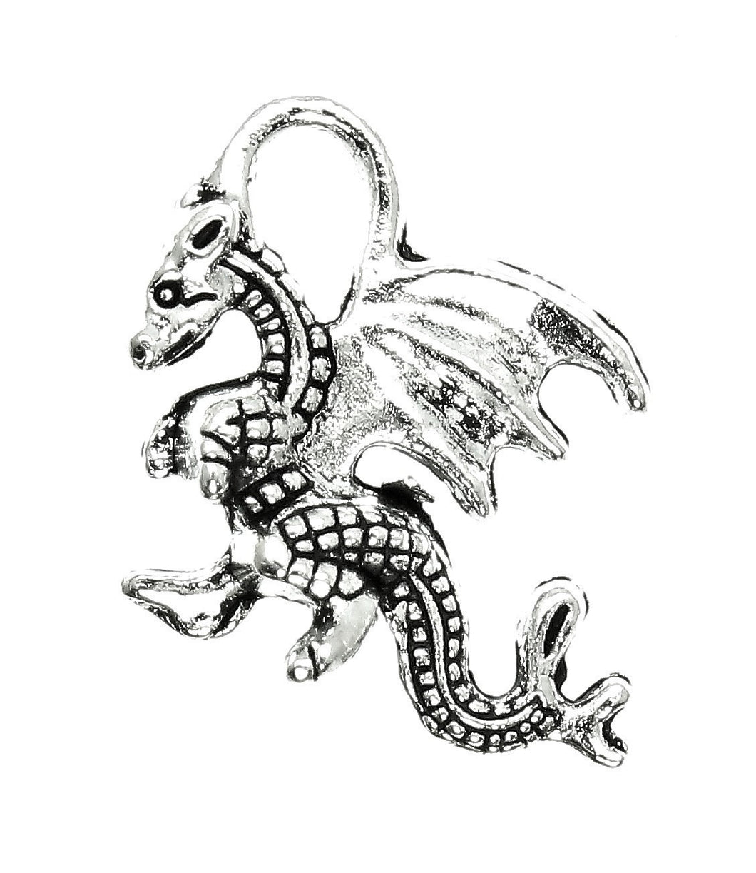 AVBeads Celtic Dragon Charms Silver 21mm x 14mm Metal Charms 10pcs