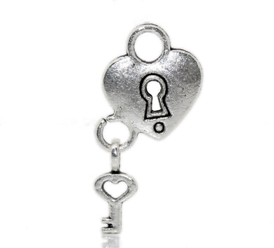 AVBeads Heart Charms Lock Key Silver 26mm x 13mm CHM22686 100pcs