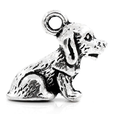 AVBeads Animal Dog Charms Silver 16mm x 14mm Metal Charms 4pcs