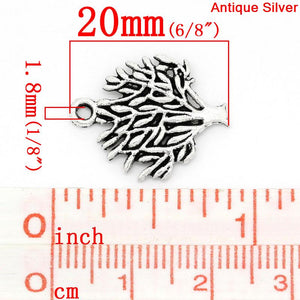 AVBeads Nature Tree Charms Silver 20mm x 16mm Metal Charms 10pcs