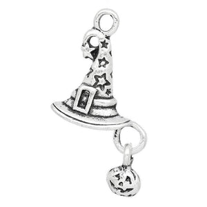 Witch Hat w/Pumpkin Charms 26mm x 14mm Silver CHM28920 AVBeads