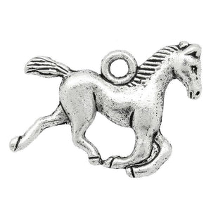 AVBeads Animal Horse Charms Silver 15mm x 20mm Metal Charms 100pcs