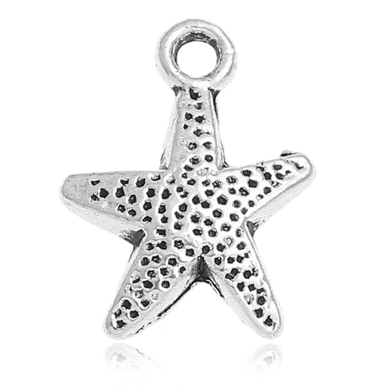 AVBeads Beach Charms Star Fish Silver 16mm x 12mm Metal Charms 4pcs