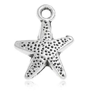 AVBeads Beach Charms Star Fish Silver 16mm x 12mm Metal Charms 10pcs