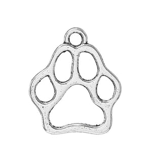 AVBeads Animals Symbol Mascot Bear Bull Dog Wolf Pack Wild Cat Panther Paw Silver 13 x 11 mm Zinc Alloy Metal Charms 50pcs