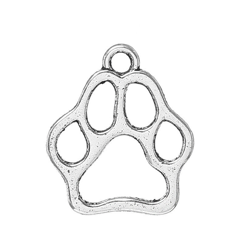 AVBeads Bulk Charms Animals Charms Paw Charms Silver 13mm x 11mm Metal Charms 100pcs