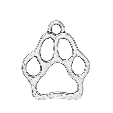 AVBeads Animals Paw Charms Silver 13mm x 11mm Metal Charms 10pcs