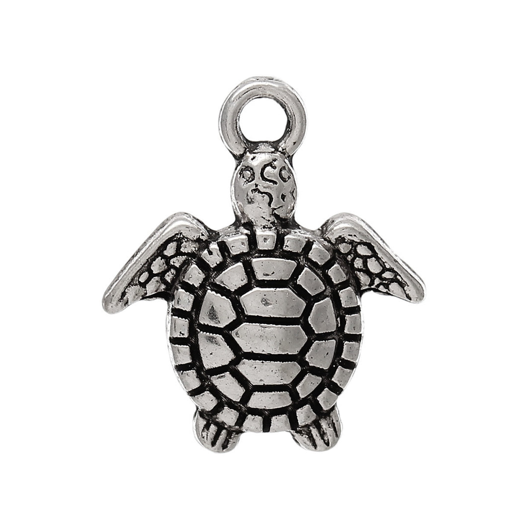 AVBeads Beach Charms Turtle Charms Silver 16mm x 14mm Metal Charms 4pcs