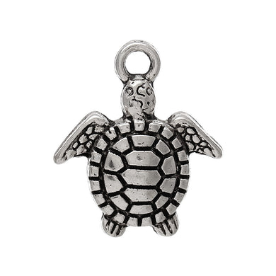 AVBeads Beach Charms Turtle Charms Silver 16mm x 14mm Metal Charms 10pcs