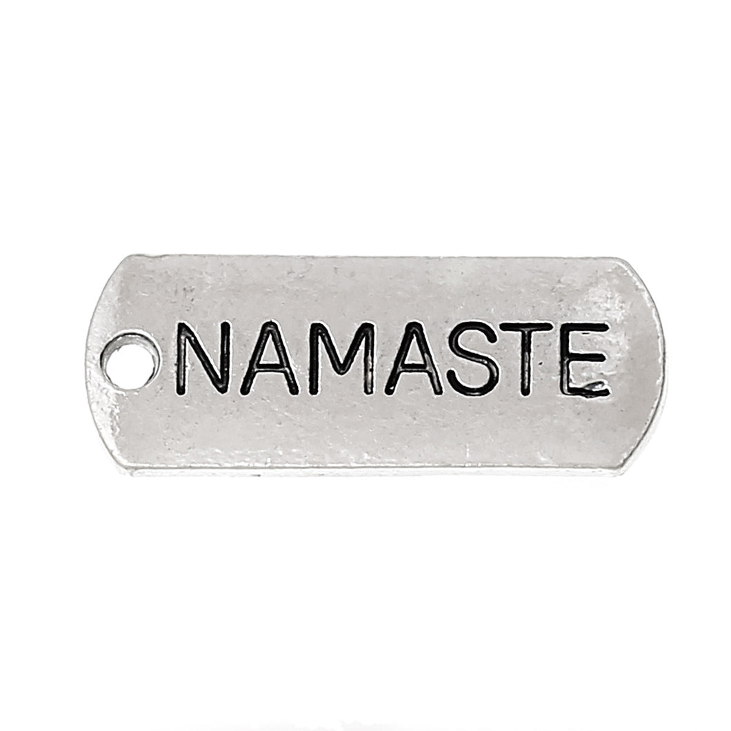AVBeads Pagan Charms Namaste Message Charms Silver 21mm x 8mm Metal Charms 4pcs