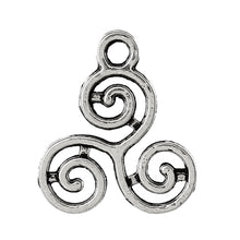 Load image into Gallery viewer, AVBeads Celtic Pagan Wiccan Triskelion Silver 16mm x 13mm Metal Charms 10pcs
