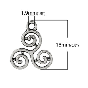 AVBeads Celtic Pagan Wiccan Triskelion Silver 16mm x 13mm Metal Charms 10pcs
