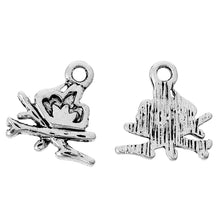 Load image into Gallery viewer, AVBeads Element Nature Camp Fire Charms Silver 11mm x 11mm Metal Charms 10pcs
