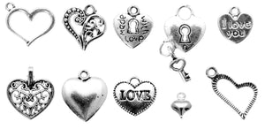 AVBeads Bulk Charms Mixed Charms Heart Charms Silver Metal Charms 1208 100pcs