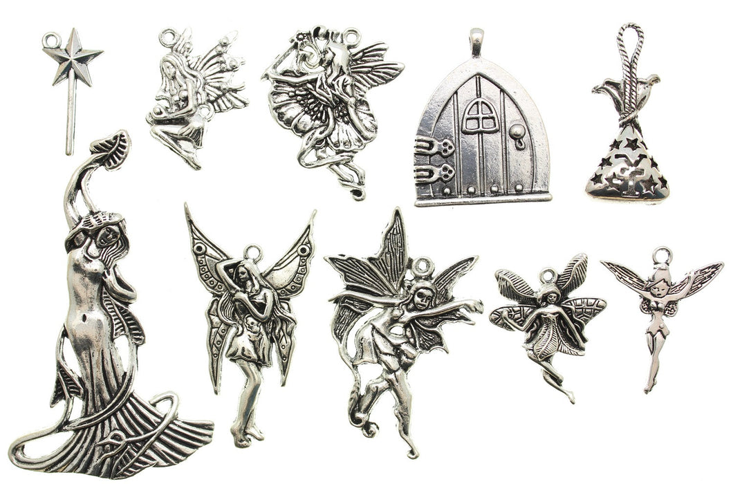 AVBeads Mixed Charms Fairy Charms Silver Metal 3101 10pcs (Large Charms)
