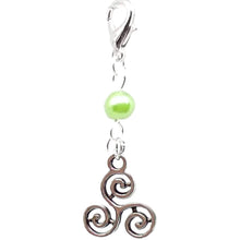 Load image into Gallery viewer, Celtic Pagan Spirtual Pagan Wicca Wiccan Triskelion Bracelet Size Charm Clip with Silver Plated Metal Lobster Clasp Charms