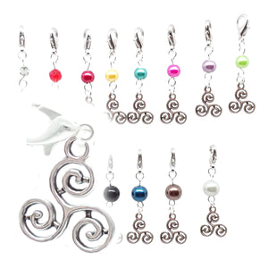 Celtic Pagan Spirtual Pagan Wicca Wiccan Triskelion Bracelet Size Charm Clip with Silver Plated Metal Lobster Clasp Charms