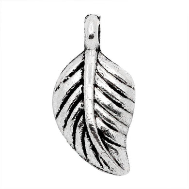 AVBeads Nature Leaf Charms Silver 15mm x 7mm Metal Charms 10pcs
