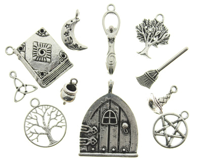 AVBeads Mixed Charms Wiccan Charms Silver CHMM2168 11pcs