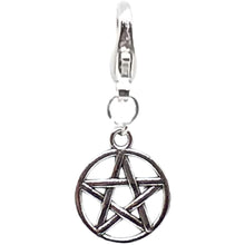 Load image into Gallery viewer, Celtic Gothic Halloween Pagan Wicca Wiccan Pentacle Bracelet Size Charm Clip with Silver Plated Metal Lobster Clasp Charms