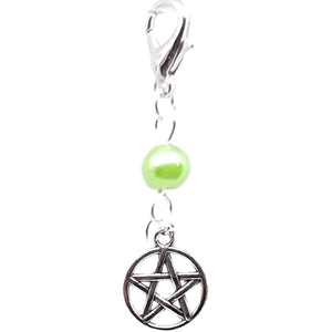 Celtic Gothic Halloween Pagan Wicca Wiccan Pentacle Bracelet Size Charm Clip with Silver Plated Metal Lobster Clasp Charms