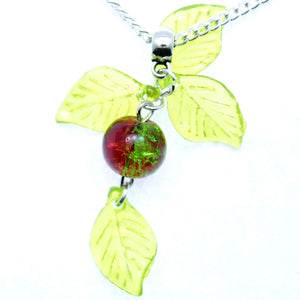 "AVBeads Jewelry Christmas 24"" Necklace Green Red Silver Mistletoe Pendant 1001"