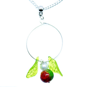 "AVBeads Jewelry Christmas 24"" Necklace Green Red Silver White Hoop Angel Pendant 1003"