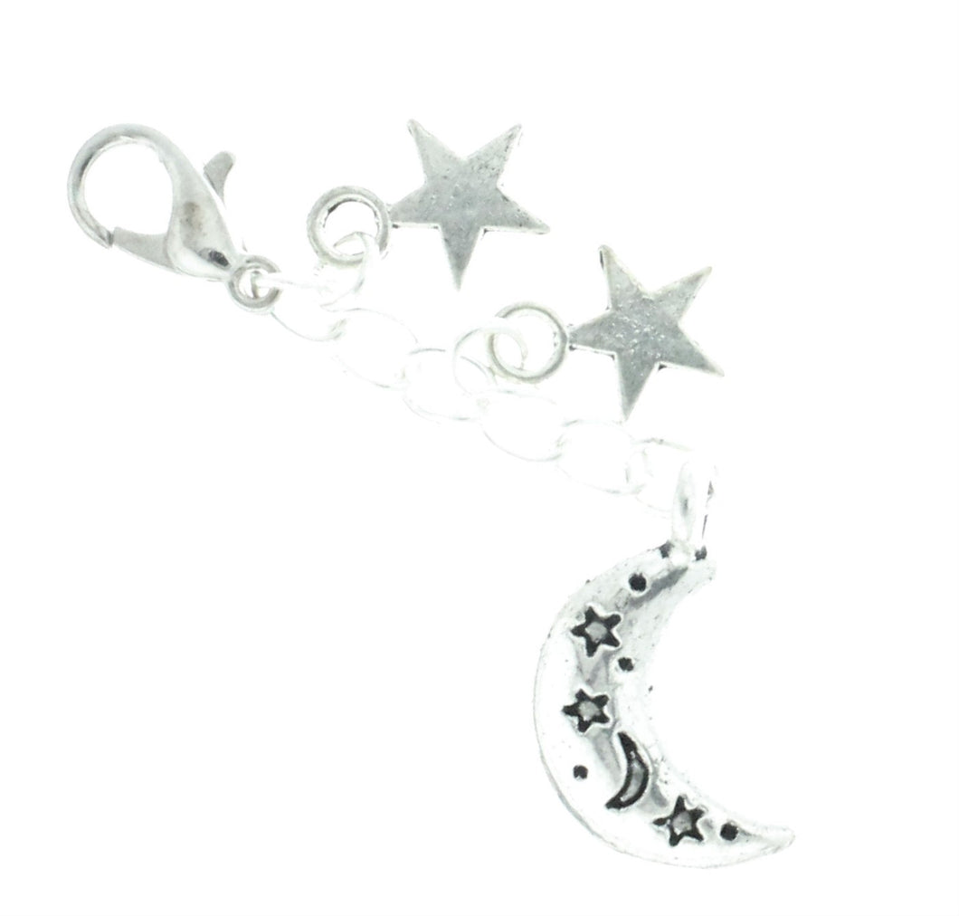 AVBeads Clip-On Charms Moon and Stars Charm 50mm x 7mm Silver JWLCC30777-21615