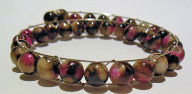 Bracelet Memory Wire with Rim Wire Bracelet Beaded Brown Pink Decorative