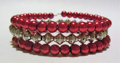 Bracelet Memory Wire Bracelet 3-Layer Beaded Red Silver - Free Shipping