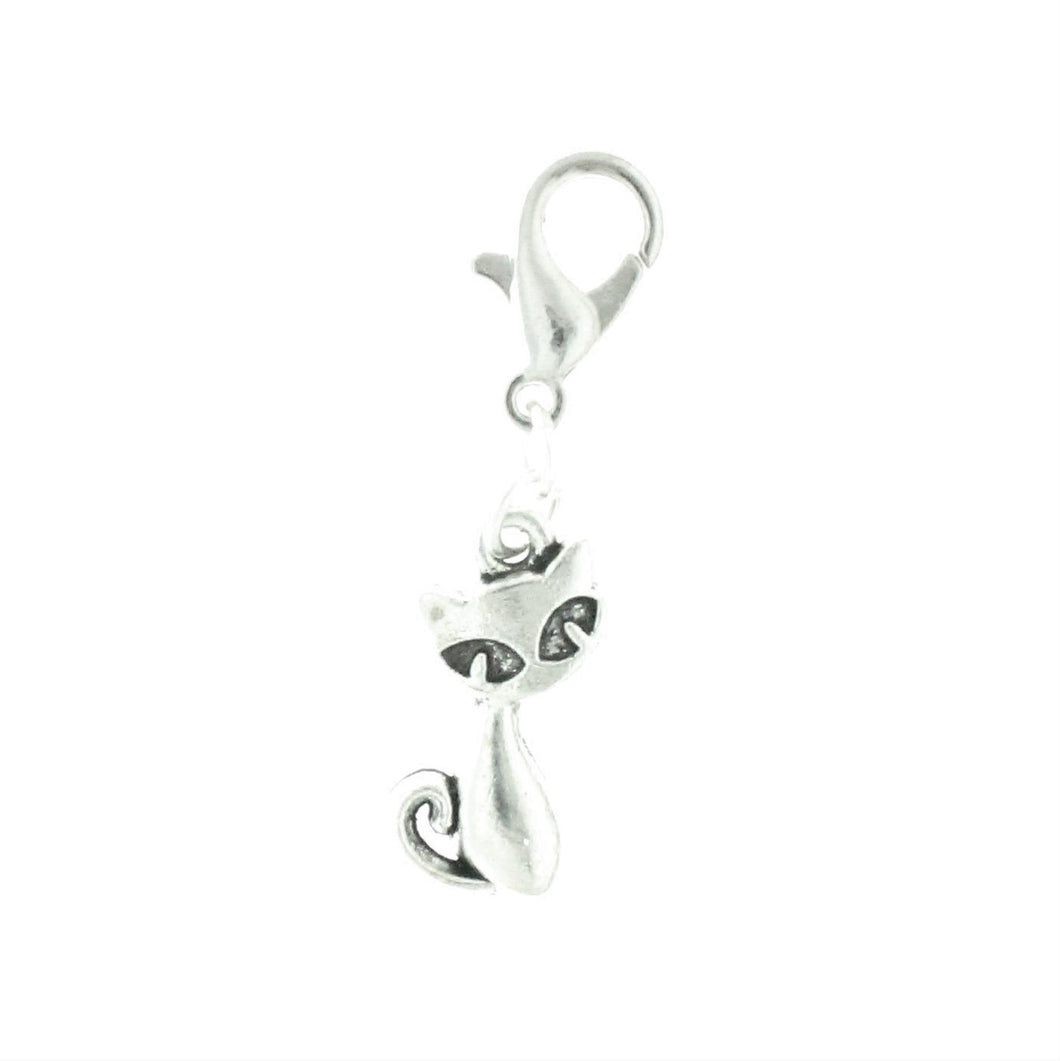 AVBeads Clip-On Charms Cat Charm 30mm x 7mm Silver JWLCC03284