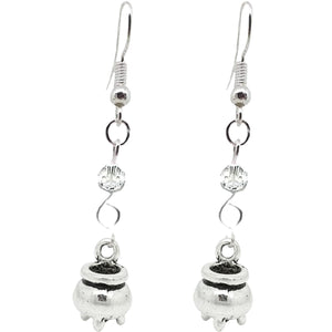 Halloween Pagan Wicca Wiccan Witch Cauldron Charm with Silver Plated Metal Ear Hook Dangle Earrings