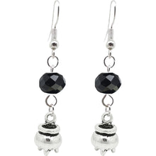 Load image into Gallery viewer, Halloween Pagan Wicca Wiccan Witch Cauldron Charm with Silver Plated Metal Ear Hook Dangle Earrings