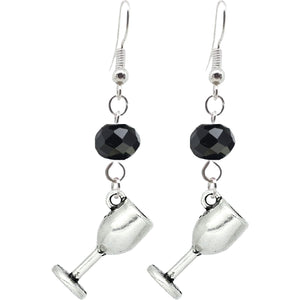 Food Drink Gothic Halloween Pagan Wicca Wiccan Goblet Charm with Silver Plated Metal Ear Hook Dangle Earrings