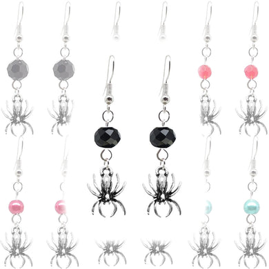 Animal Creepy Gothic Halloween Insect Spider Charm with Silver Plated Metal Ear Hook Dangle Earrings