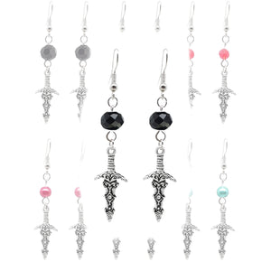 Gothic Halloween Pagan Wicca Wiccan Witch Athame Charm with Silver Plated Metal Ear Hook Dangle Earrings