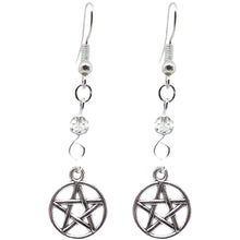 Load image into Gallery viewer, Celtic Gothic Halloween Pagan Wicca Wiccan Pentacle Charm Beaded with Silver Plated Metal Ear Hook Dangle Earrings
